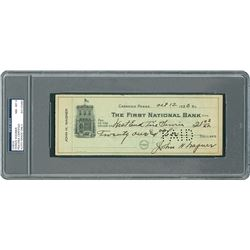 Honus Wagner 1920 Signed Personal Check - PSA/DNA NM-MT 8