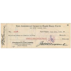 Charles 'Red' Ruffing 1930 Signed Payroll Check