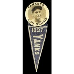 Scarce 1937 Lou Gehrig Stadium Pin with Felt Pennant Still Intact!