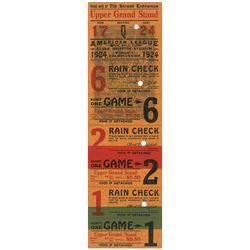 1924 Washington Senators Unused World Series Ticket Block - Walter Johnson's only Series Victory!
