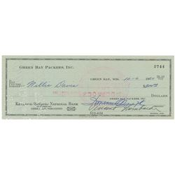 Vince Lombardi and Willie Davis 1960 Signed Payroll Check