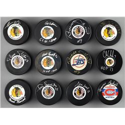 Chicago Black Hawks Signed Puck Collection (10) with Bobby Hull