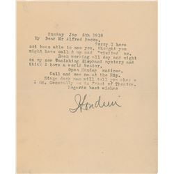 Harry Houdini 1918 Signed Typed Letter