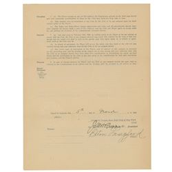 Elton Langford 1923 Signed New York Yankees Player Contract with Ban Johnson and Jacob Ruppert