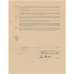 Joe Sewell 1927 Cleveland Indians Signed Player Contract
