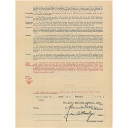 Jim Bottomley 1931 St. Louis Cardinals Signed Player Contract