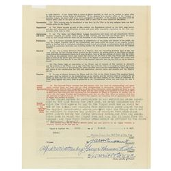 Babe Ruth 1932 New York Yankees Signed Player Contract