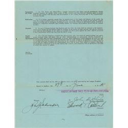 Eddie Collins 1931 Philadelphia Athletics Signed Coach's Contract