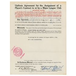 Eddie Collins 1933 Signed Trade Agreement for HOFer Rick Ferrell