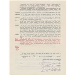 Earle Combs 1935 New York Yankees Signed Player Contract (Final Season)