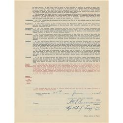 Pie Traynor 1934 Pittsburgh Pirates Signed Player Contract