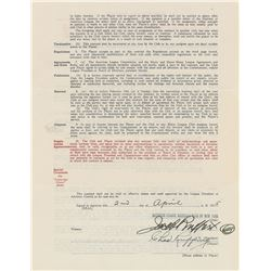 Red Ruffing 1935 New York Yankees Signed Player Contract