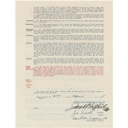 Joe Sewell 1935 New York Yankees Signed Player Contract