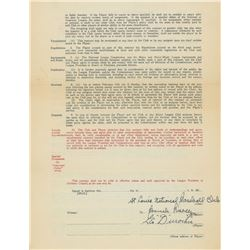 Leo Durocher 1936 St. Louis Cardinals Signed Player Contract with Branch Rickey