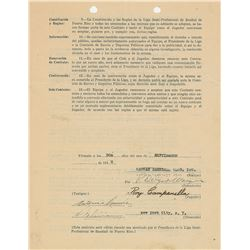 Roy Campanella 1940 Puerto Rico Winter League Signed Player Contract