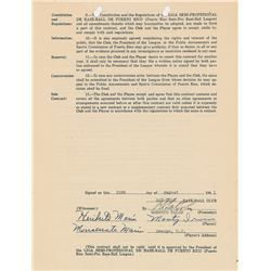 Monte Irvin 1941 Puerto Rico Winter League Signed Player Contract