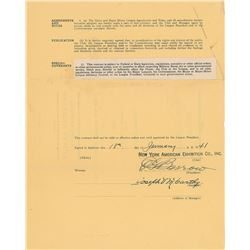 Joe McCarthy 1941 New York Yankees Signed Manager's Contract