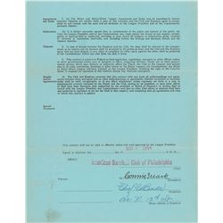 Chief Bender 1944 Philadelphia Athletics Signed Scout's Contract