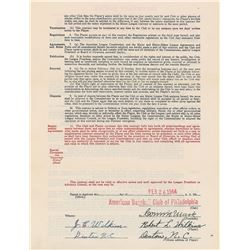 Robert Wilkins 1944 Philadelphia Athletics Signed Player Contract with Connie Mack