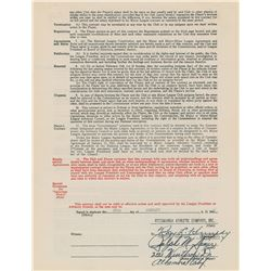 Ralph Kiner 1946 Pittsburgh Pirates Signed Player Contract (Rookie Season—Led NL in Home Runs)
