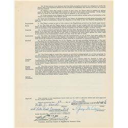 Vic Raschi 1947 New York Yankees Signed Player Contract