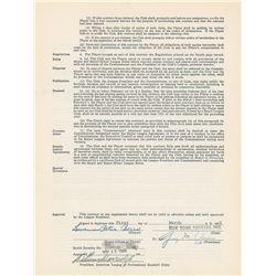Yogi Berra 1949 New York Yankees Signed Player Contract