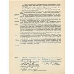 Hank Bauer 1950 New York Yankees Signed Player Contract