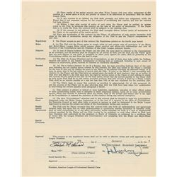 Ralph Kiner 1955 Cleveland Indians Signed Player Contract with Hank Greenberg (Last Contract)