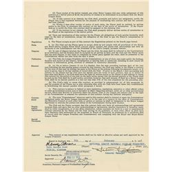 Hank Aaron 1957 Milwaukee Braves Signed Player Contract (NL MVP Season)