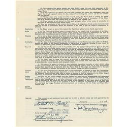 Bob Feller 1955 Cleveland Indians Signed Player Contract