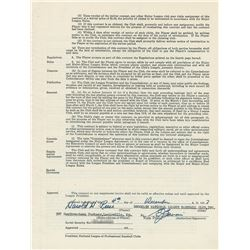 Pee Wee Reese 1958 Brooklyn/Los Angeles Dodgers Signed Player Contract (Last Contract)