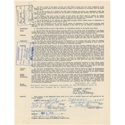 Enos Slaughter 1959 New York Yankees Player Signed Contract