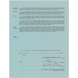 Leo Durocher 1963 Los Angeles Dodgers Signed Coach's Contract