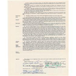 Jim 'Catfish' Hunter 1967 Kansas City Athletics Signed Player Contract