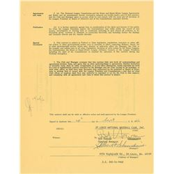 Red Schoendienst 1967 St. Louis Cardinals Signed Manager's Contract