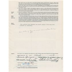 Rollie Fingers 1973 Oakland Athletics Signed Player Contract (With Mustache Wax Clause!)