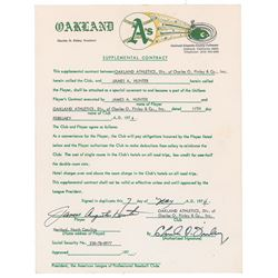 Catfish Hunter 1974 Oakland Athletics Signed Player Supplemental Contract (Cy Young Award)