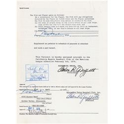 Rod Carew 1976–78 Minnesota Twins Player Signed Contract
