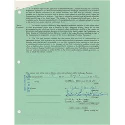 Dick Williams 1980–81 Montreal Expos Signed Manager's Contract