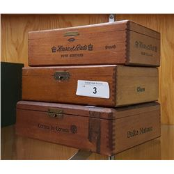 3 VINTAGE WOOD CIGAR BOXES