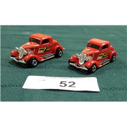 """TWO """"ZZ TOP"""" ELIMINATOR 1933 FORD COUPE HOTWHEELS CARS"""