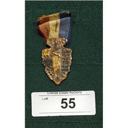 1950'S BLACKHAWK TRAIL HIKE ARROWHEAD W/INDIAN FIGURE BOYSCOUT MEDAL