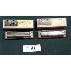 TWO VINTAGE MARINE BAND HOHNER HARMONICAS IN THE KEYS OF B & E