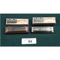 TWO VINTAGE MARINE BAND HOHNER HARMONICAS IN THE KEYS OF G & A