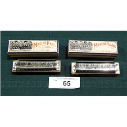 TWO VINTAGE MARINE BAND HOHNER HARMONICAS IN THE KEYS OF F & E FLAT