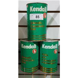 THREE VINTAGE KENDALL TRANSMISSION FLUID QUARTS