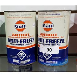 TWO VINTAGE GULF ANTI-FREEZE QUARTS