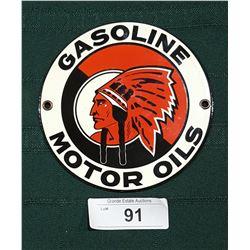 RED INDIAN GASOLINE & MOTOR OIL PORCELAIN SIGN