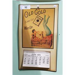 OLD GOLD TOBACCO 1935 CALENDAR