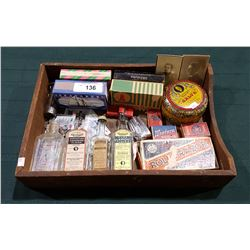 WOOD TRAY W/ANTIQUE & VINTAGE COLLECTIBLES